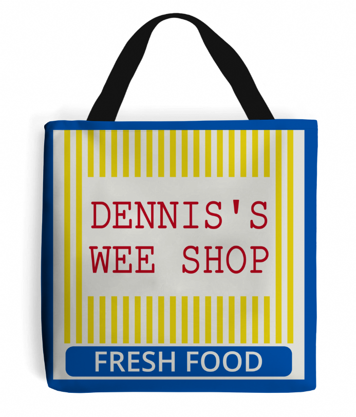 Dennis's Wee Shop Corner Store Tote Grocery Shopping from Derry Girls